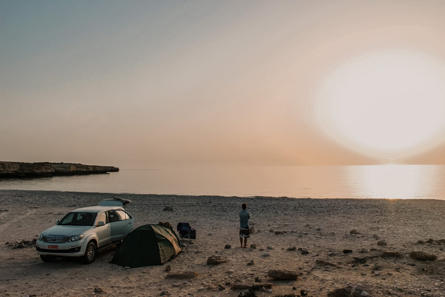 Camping in Oman on the beach