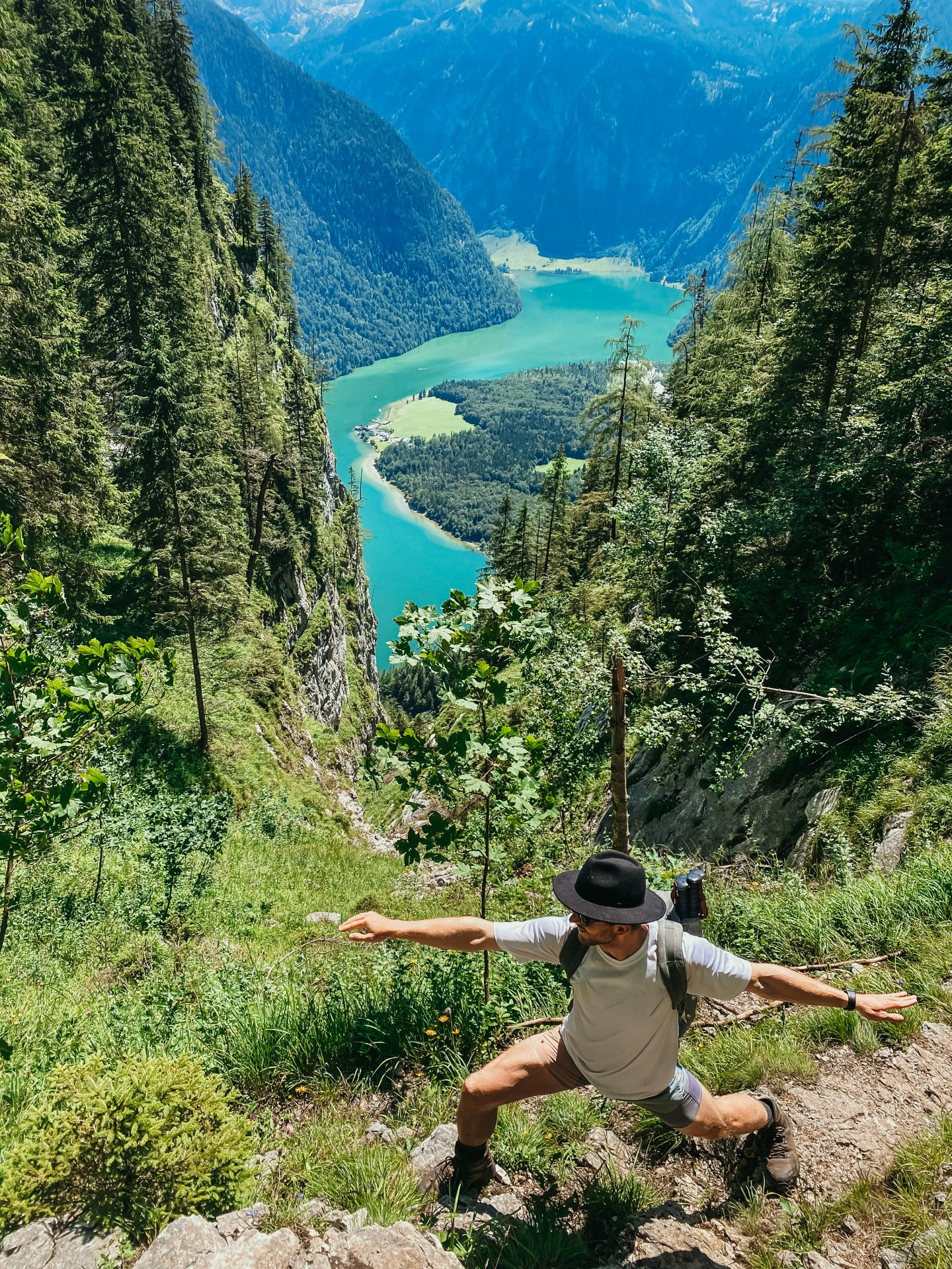 Man hiking at the shores of the Königssee in Germany