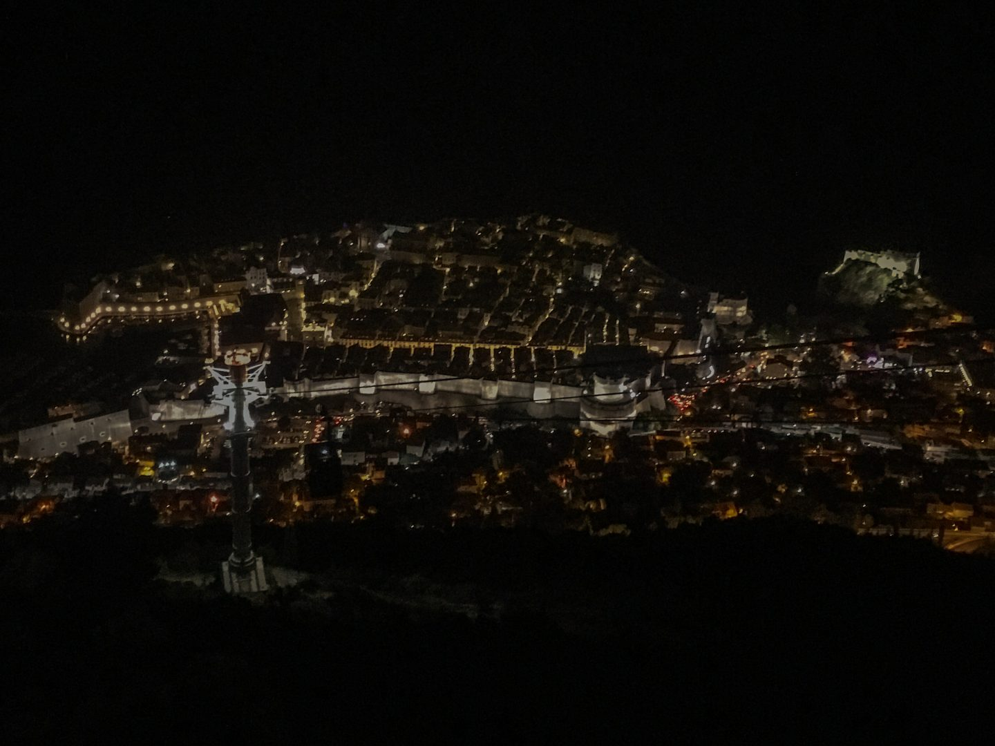 On thing to do in Dubrovnik is to view the city lights from Mount Srd